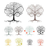Trees Set Isolated on White Background - Abstract Vector Illustration — Stock Vector