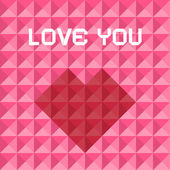 Love You Pink and Red Vector Triangle Background with Heart Symbol — Stock Vector