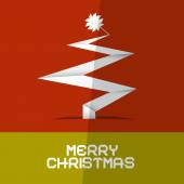 Merry Christmas Card with Paper Tree — Stock Vector