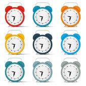 Vector Alarm Clock Set — Stock Vector