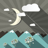 Flat Design Vector Mountains and Moon Landscape Illustration — Stock Vector