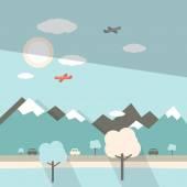Landscape Flat Design Illustration — Stock Vector