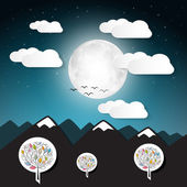 Vector Landscape Illustration with Full Moon and Mountains — Stock Vector
