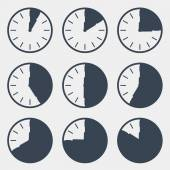 Clock - Time Countdown Vector Set — Stock Vector