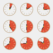 Clock - Time Countdown Vector Set — Cтоковый вектор