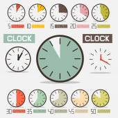 Retro Clock - Time Countdown Vector Set — Cтоковый вектор