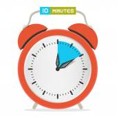 10 - Ten Minutes Stop Watch - Alarm Clock Vector Illustration  — Stockvector