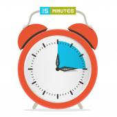 15 - Fifteen Minutes Stop Watch - Alarm Clock Vector Illustration  — Vettoriale Stock