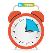 15 - Fifteen Minutes Stop Watch - Alarm Clock Vector Illustration  — Stock Vector