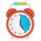 25 - Twenty Five Minutes Stop Watch - Alarm Clock Vector Illustration  — Stock Vector