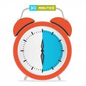 30 - Thirty Minutes Stop Watch - Alarm Clock Vector Illustration  — Stock Vector
