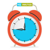 45 - Forty Five Minutes Stop Watch - Alarm Clock Vector Illustration  — Stock Vector