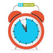 55 - Fifty Five Minutes Stop Watch - Alarm Clock Vector Illustration — Stock Vector