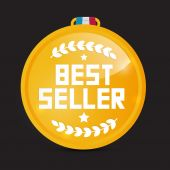 Best Seller Gold Medal Vector — Cтоковый вектор