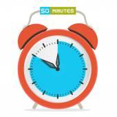 50 - Fifty Minutes Stop Watch - Alarm Clock Vector Illustration  — Stock Vector