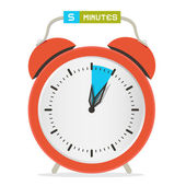 5 - Five Minutes Stop Watch - Alarm Clock Vector Illustration  — Stock Vector