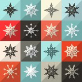 Retro Snowflakes Vector Set — Stockvector