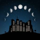 Moon Phases above Night City Vector — Stock Vector