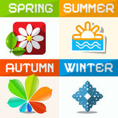 Four Seasons Paper Vector Symbols  — Stock Vector