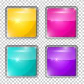 Transparent Vector Colorful Rounded Squares Glass Buttons — Stock Vector