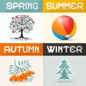 4 - Four Seasons Vector Illustration — Stock Vector