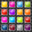 Colorful Vector Square Glass Buttons Set on Transparent Background — Stock Vector #62092831