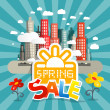 Spring Sale Vector Illustration with City and Flowers in Retro Style — Stock Vector #62099041