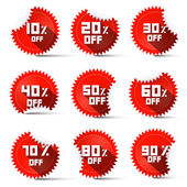 Ten to Ninety Percent Off Red Labels — Stock Vector