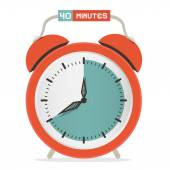Forty Minutes Stop Watch - Alarm Clock Vector Illustration  — Vettoriale Stock