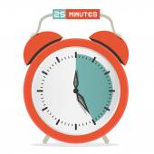 Twenty Five Minutes Stop Watch - Alarm Clock Vector Illustration  — Stock Vector