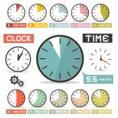 Clock Vector Set in Flat Design Style — Stock Vector