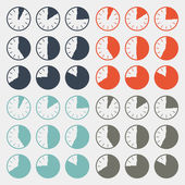 Vector Flat Design Clock Set — Stock Vector