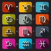 Zodiac - Horoscope Rounded Square Vector Icons Set on Dark Background — Stock Vector