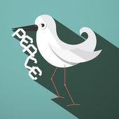 Peace Dove Retro Flat Design Vector Illustration — Stock Vector