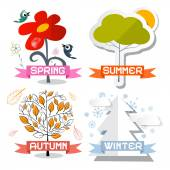 Four Seasons Vector Symbols Isolated on White Background — Stock Vector