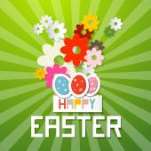 Happy Easter Vector Illustration with Paper Cut Flowers and Eggs on Green Background — Stock Vector
