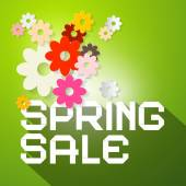 Spring Sale Vector Illustration with Colorful Paper Cut Flowers and Green Background — Stock Vector