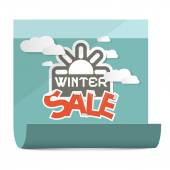Winter Sale Vector Illustration on Paper Sheet Isolated on White Background — Stock Vector