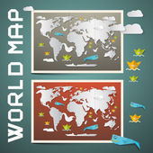 World Maps - Paper Vector Set — Stock Vector