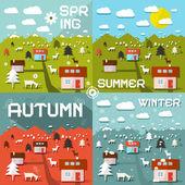 Four Seasons Vector Illustration — Stock Vector