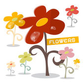 Vector Flowers Set with Rain Drops — Stock Vector