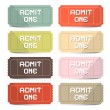 Admit One Tickets Retro Vector Set — Stock Vector #62456653