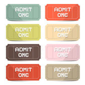 Admit One Tickets Retro Vector Set — Stockvektor