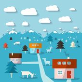Winter Mountain Landscape Flat Design Abstract Vector Illustration — Stock Vector