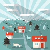 Landscape Illustration with Houses, Deers, Mountains and Forest — Stock Vector