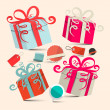 Gift Boxes Set with Empty Labels - Retro Vector Illustration — Stock Vector #63339889