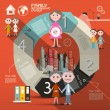 Circle Paper Retro UI Flat Design Infographics Layout with Family Members — 图库矢量图片 #63339913