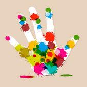 Splash Palm Hand färgglada vektor Illustration — Stockvektor