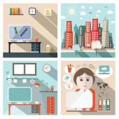 Business and School Exterior and Interior Vector Flat Design Illustration with Secretary and Icons — Stock Vector