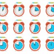 Alarm Clock - Time Countdown Vector Set Isolated on White — Stock Vector #63340075